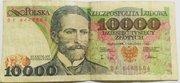 Злотые Польши,  купюры 10000,  5000,  1000,  500,  100,  50