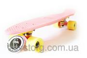 Пенни борд Пастель Fish - Нежно розовый с желтыми колесами