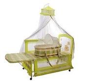 Продам детскую кроватку трансформер с люлькой и балдахином б/у