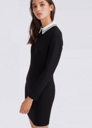 Классическое черное платье с белым воротничком Lime